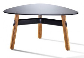 Black Frame - Walnut Legs - 800mm Black Tinted Glass Coffee Table
