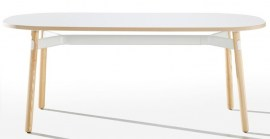Breakout Meeting Table White Frame - Ash Legs - 1800 x 900mm White Top With Young Beech ABS Edge
