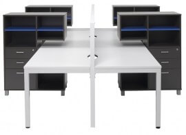 Straight Leg Desk With Mobile Docking Towers